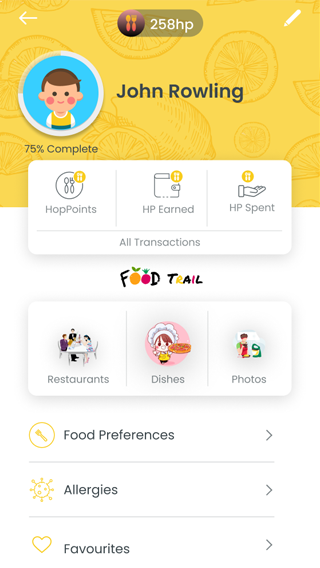 food delivery user profile