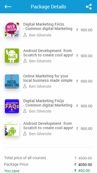 mobile learning app package details