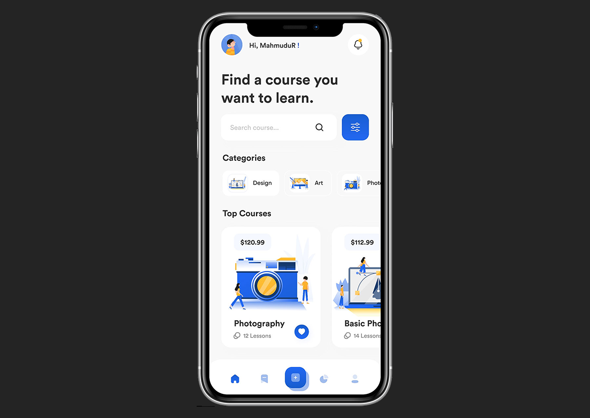 search feature of elearning app