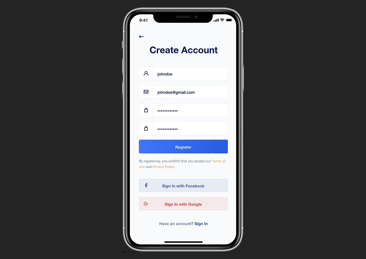 user registration education app